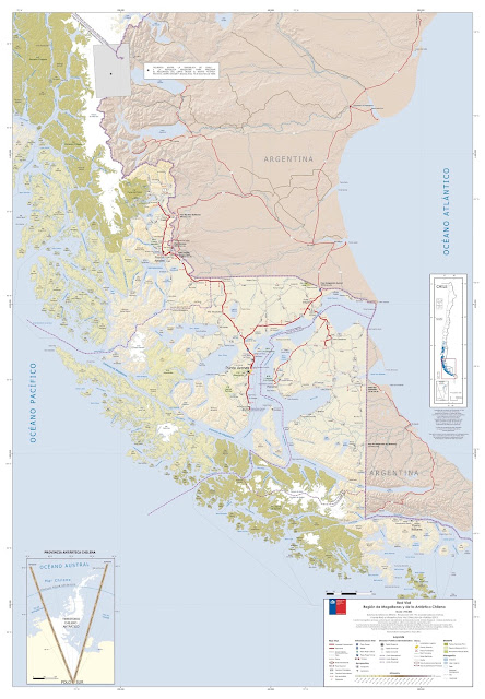 Mapa rodoviário do Centro Sul do Chile - região de Magallanes