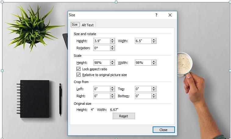 Setting ukuran foto pada microsoft word