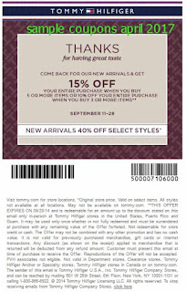 free Tommy Hilfiger coupons april 2017