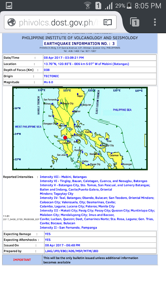 Unusual sequence of big tremors hit Batangas