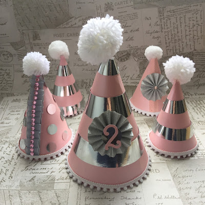 Finished small and large party hats.  Free Silhouette Design of the Week project by Nadine Muir for UK Silhouette Blog