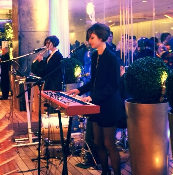 The Bloom Twins performing at the PPQ London Fashion Week afterparty at the Sanderson hotel courtyard