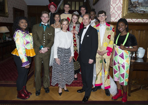 Sophie Countess of Wessex Held a Dinner for National Youth Theatre Diamond Anniversary. Countess Sophie wore Oscar De La Renta Broderie Anglaise Silk-Organza Skirt, Emilia Wickstead blouse, Christian Dior assymetric pointed-toe pump, UFO Earrings