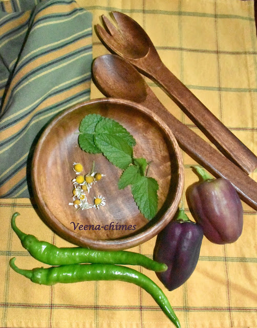 Bounty from the garden- Purple Bell Peppers, Green Peppers, Calming tea Ingredients- Lemon Balm leaves and Chamomile flowers