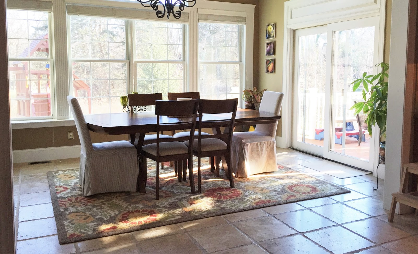 therefore we set out to create a light and bright sunroom full of cozy upholstery bleached wood finishes and interesting texture - Sunroom Dining Room