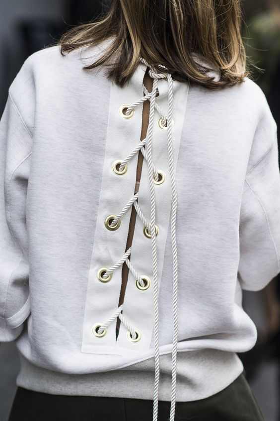 White Lace Up Back Sweatshirt Street Style
