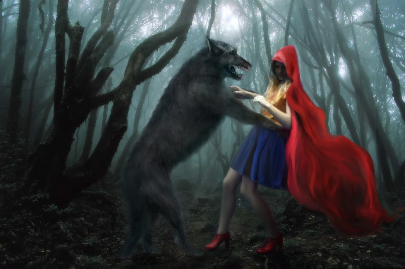 Picture of little red riding hood with the wolf.