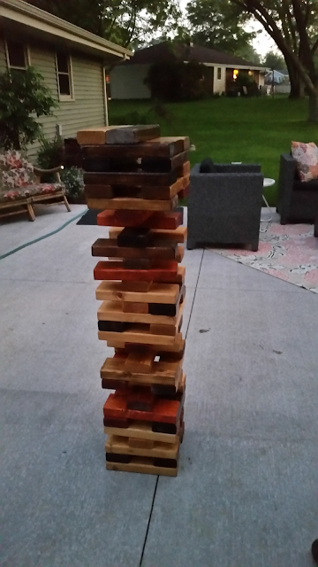jenga, stain, diy, patio, games, friends, outdoor, polyurethane, fun, summer time, summertime, tedious