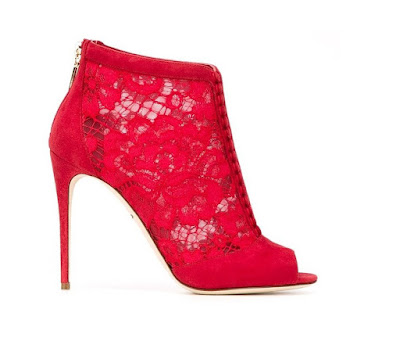Dolce and Gabbana red lace booties with stiletto heel