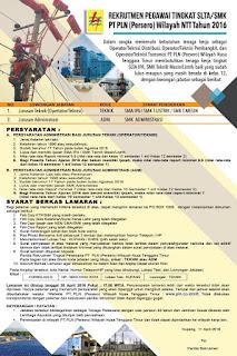 Informasi Lowongan Pekerjaan PT PLN (Persero) NTT Untuk Tingkat SMA/SMK