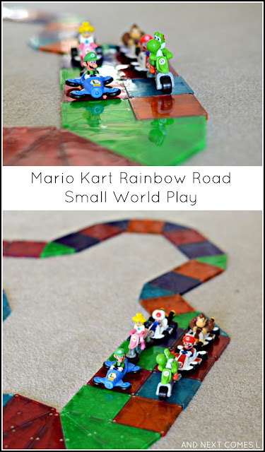 Mario Kart Rainbow Road small world play for kids using Magna-Tiles from And Next Comes L