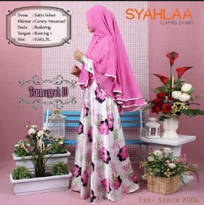 Model Baju Muslim Gamis dengan Hijab Syar'i Terbaru