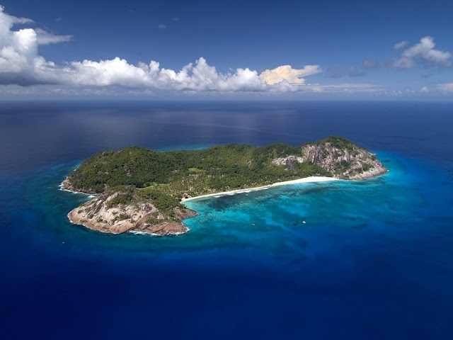 Picture of the private island as seen from the air