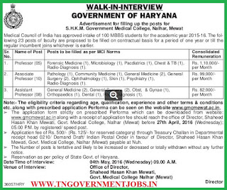 Walk in interview for Faculty Members in S.H.K.M. Government Medical College Mewat
