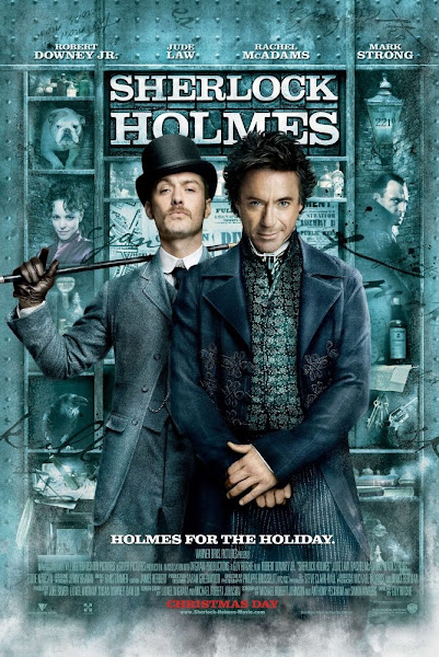 Poster Of Sherlock Holmes 2009 720p Hindi BRRip Dual Audio Full Movie Download