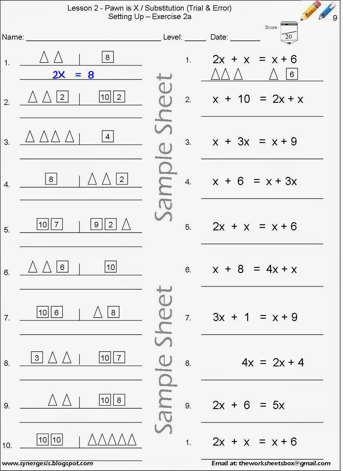 The Worksheets Box Algebra