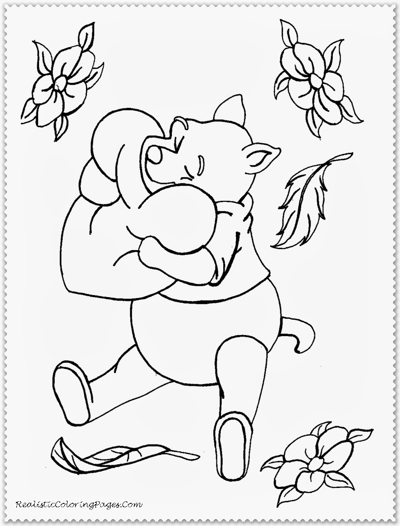 Winnie The Pooh Disney Cartoon Valentines Coloring Pages