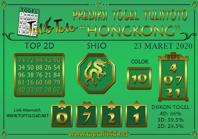 Prediksi Togel HONGKONG TULISTOTO 23 MARET 2020