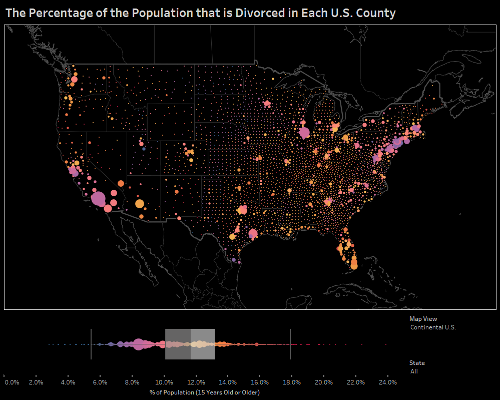 The Percentage of the Population that is Divorced in Each US County