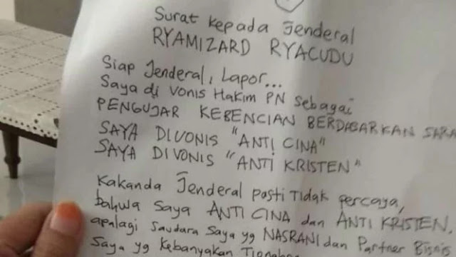 Surat Ahmad Dhani untuk Menhan Ryamizard Ryacudu, Isinya Mengejutkan