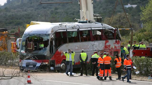 Ανετράπη λεωφορείο με μαθητές στις Σέρρες