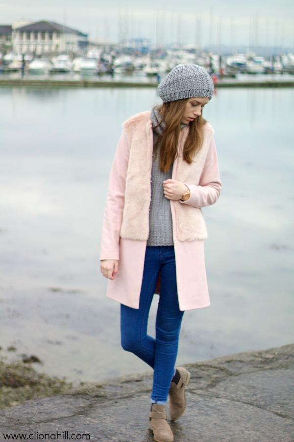 pink zara coat