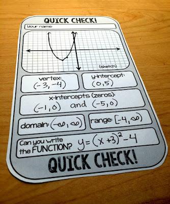 Algebra 2 quick check template