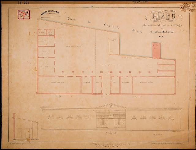 Plano de um quartel para a Companhia de Aprendizes Marinheiros, 1871. C. Cintra, 14/05/1871. Copiado pelo Major G. João Nepomuceno de Medeiros M.