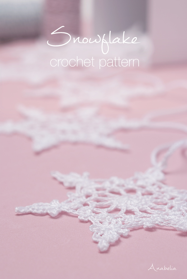 Crochet snowflake nr 4 pattern by Anabelia Craft Desig