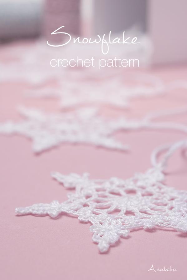 Crochet snowflake nr 4 pattern by Anabelia Craft Desig