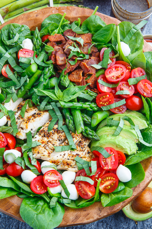 Grilled Chicken and Asparagus Caprese Spinach Salad with Bacon and ...