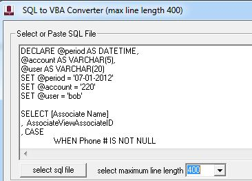 Convert SQL to VBA | Rick Johnston