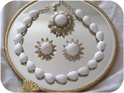 vintage 1950s 1960s coro necklace, earrings, brooch white lucite thermoset jewelry set