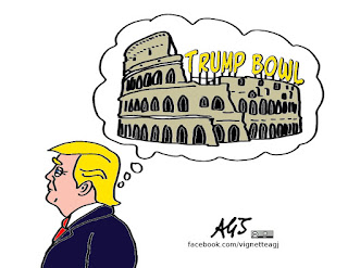 trump, colosseo, vignetta, satira
