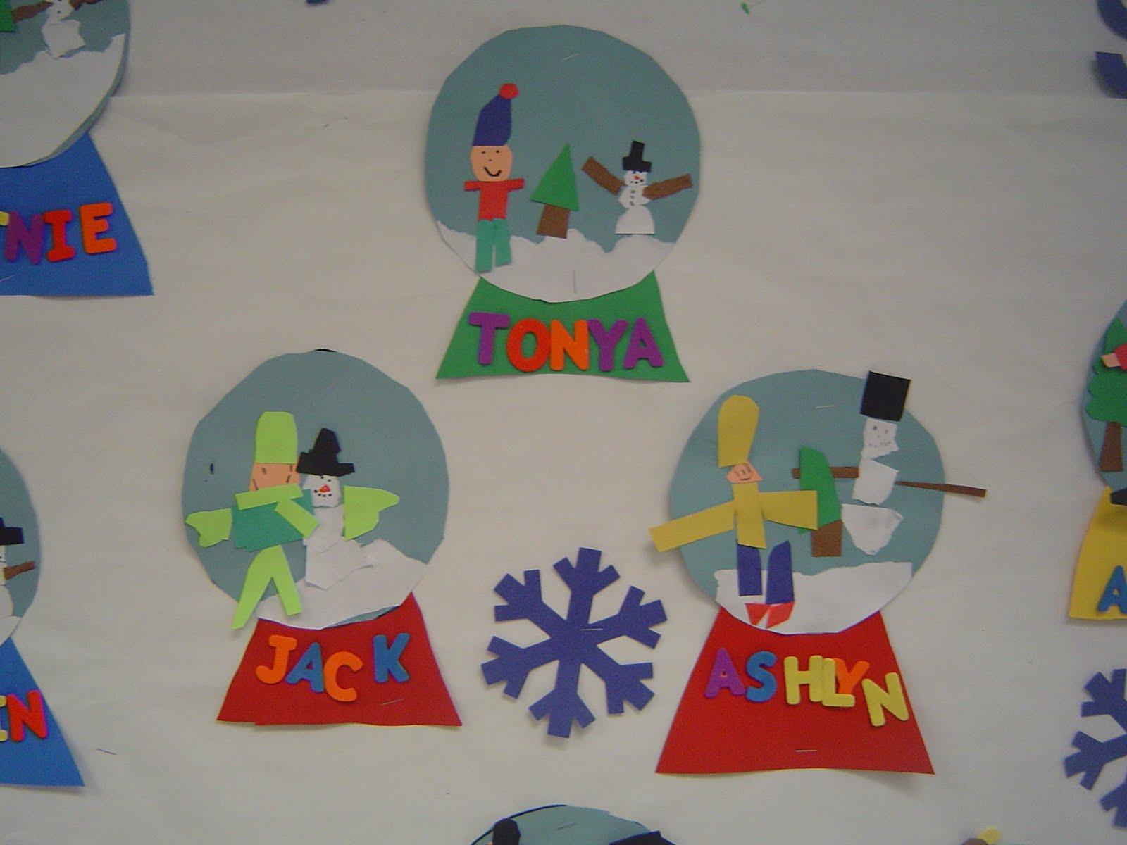 Mrs T S First Grade Class Snow Globes