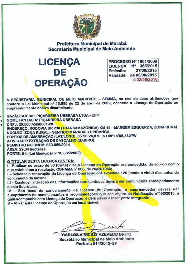 LICENÇA DE OPERAÇÃO - PIÇARREIRA UBERABA