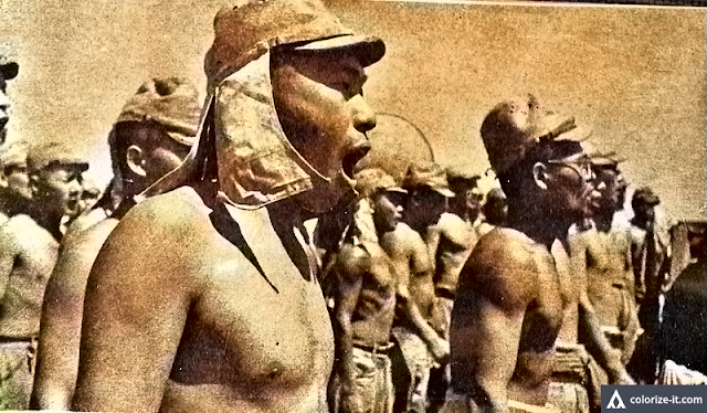 Japanese soldiers in formation.  Image source:  United States National Archives.  Colorized courtesy of Algorithmia.