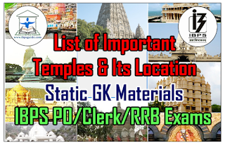List of Important Temples and Its Location – Static GK Materials for IBPS PO/Clerk/RRB Exams 2016