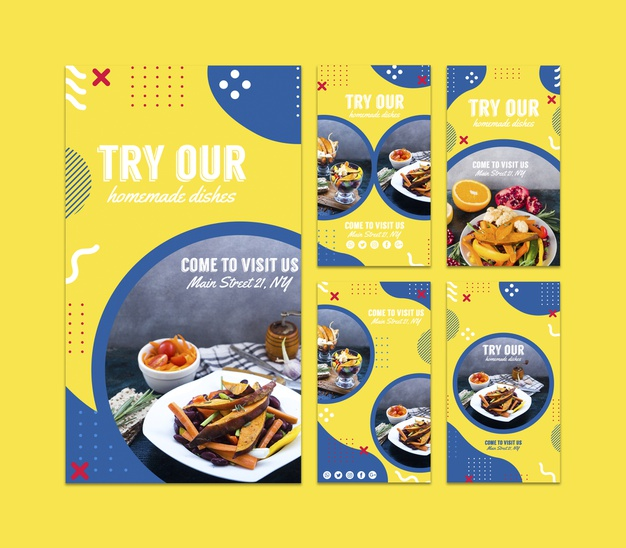 Instagram stories template for restaurant in memphis style Free Psd