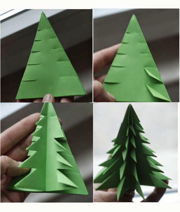 Decorate Christmas Tree On Paper: Origami Christmas Decorations Tutorial