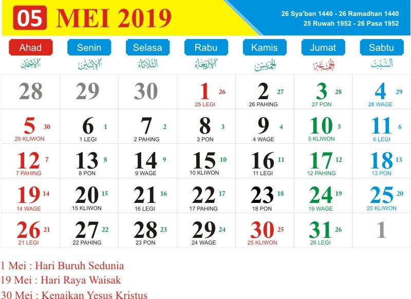 Kalender jawa mei 2019