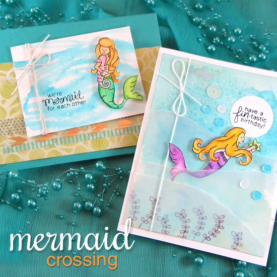Mermaid Card by Jennifer Jackson  | Mermaid Crossing Stamp Set by Newton's Nook Designs