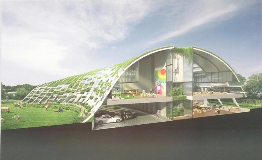 The childcare centre looks stunning and almost resembles a greenhouse.