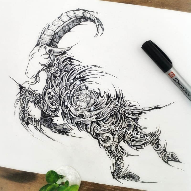 12-Wild-Goat-Animal-Drawings-Syahid Zain-www-designstack-co