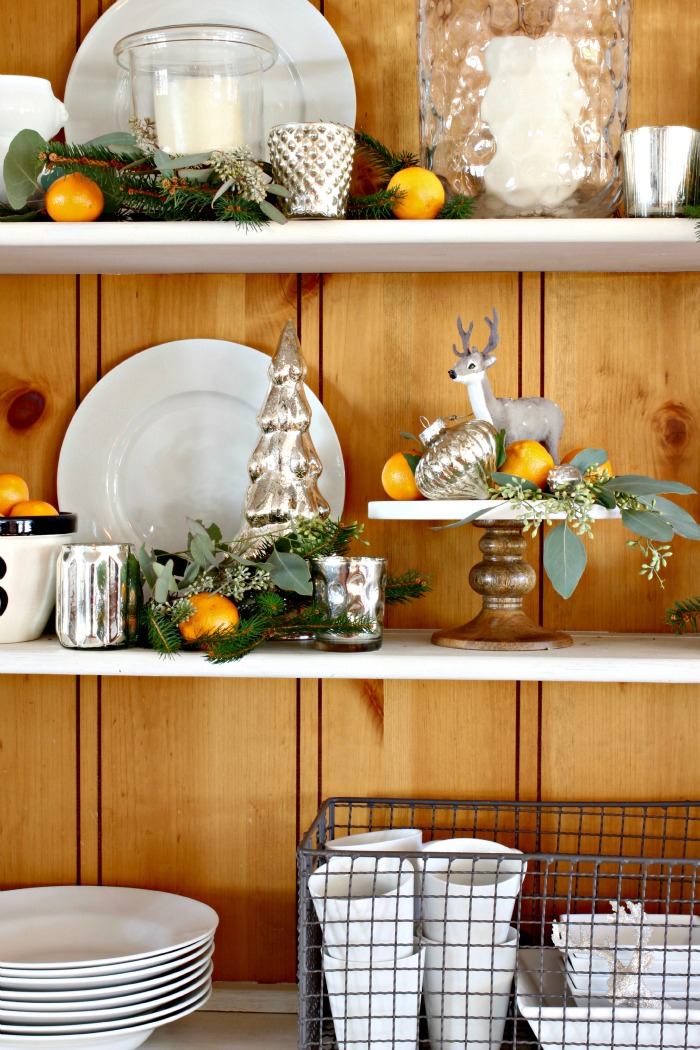Farm style hutch with mercury glass accents as Christmas decor - www.goldenboysandme.com