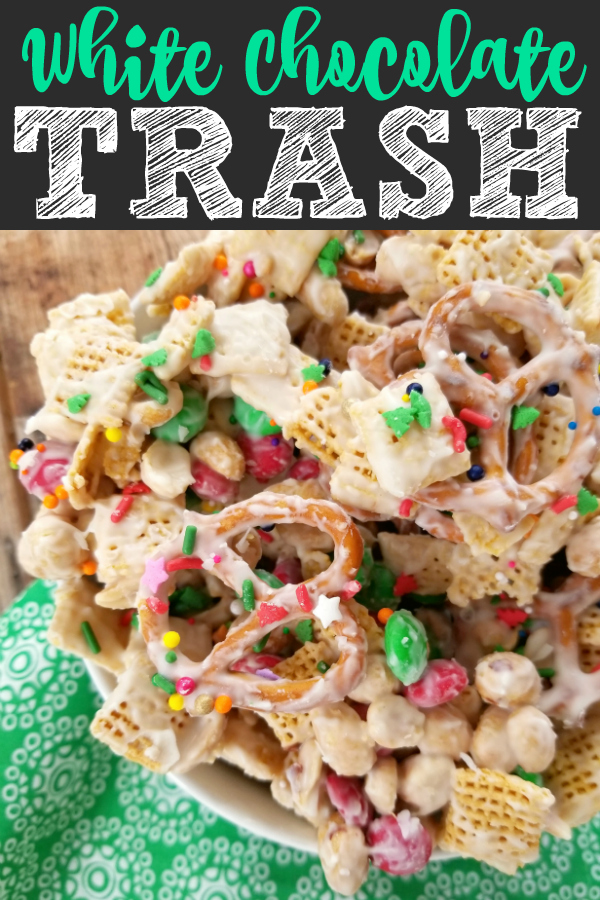 A sweet and salty snack mix made with chex cereal, pretzels, peanuts and M&M's coated with white chocolate perfect for Christmas, other holidays or just for a sweet treat (also called Christmas Crack)!