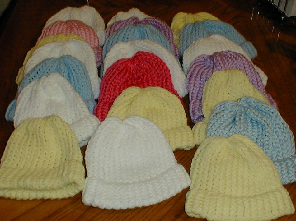 026306ccbf7 Karens Crocheted Garden of Colors  Loom Knitted Baby Hats