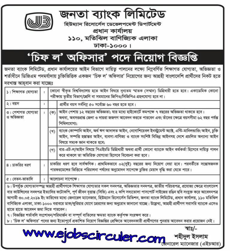 Janata bank job circuler