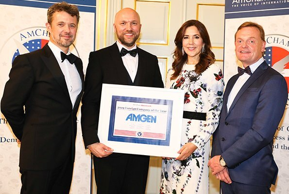 Crown Princess Mary wore Erdem Agnes floral print silk crepe gown. Amgen is the AmCham's 2019 Foreign Company