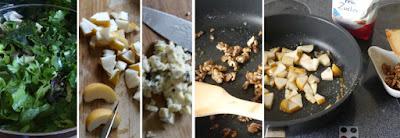 Zuberereitung Grüner Blattsalat mit Nashibirne, Gorgonzola und Walnüssen